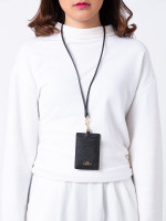 COACH 57311 Crossgrain Leather ID Lanyard Black