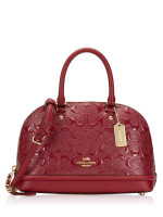 COACH 27597 Signature Debossed Patent Mini Sierra Cherry