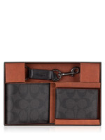 COACH Men 41346 Signature Compact ID Wallet Gift Set Black