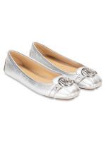 MICHAEL KORS Fulton Leather Flats Silver Sz 7.5