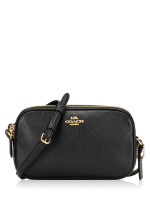 COACH 30259 Pebbled Leather Crossbody Pouch Black