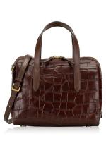 FOSSIL SHB1986204 Sydney Croco Leather Satchel Brown