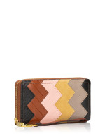 FOSSIL SL7837037 Logan Patchwork Leather Zip Wallet Brown