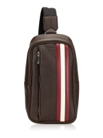 BALLY Men Starlex Leather Sling Bag Coffee