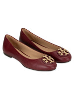 TORY BURCH Claire Tumbled Leather Flats Red Agate 7.5
