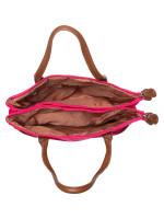 AIGNER Nylon Double Top Zip Tote Pitaya Pink
