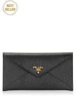 PRADA 1MF175 Vitello Move Envelope Wallet Nero