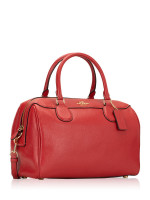 COACH 31376 Pebbled Leather Large Bennett Satchel Ruby