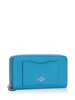 COACH 54007 Crossgrain Leather Zip Wallet Bright Blue