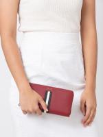 BALLY Salen Saffiano Zip Wallet Garnet