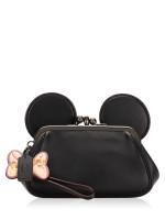 COACH 30212 Minnie Leather Kisslock Clutch Black