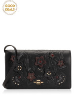 COACH 38636 Floral Tooling Leather Foldover Crossbody Clutch Black