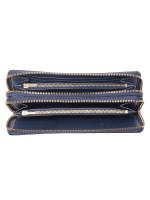COACH 23334 Crossgrain Double Zip Travel Wallet Denim