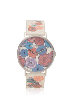 COACH 14503044 Perry Leather Strap White Multi