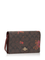 COACH 38715 Floral Bundle Foldover Crossbody Brown Metallic Currant