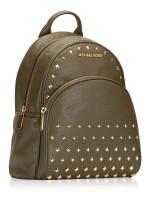 MICHAEL KORS Abbey Studded Leather Medium Backpack Olive