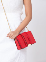 MICHAEL KORS Jade Ruffle Medium Gusset Clutch Bright Red
