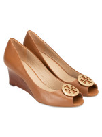 TORY BURCH Kara Leather Open Toe Wedges Royal Tan Sz 11