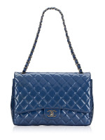 CHANEL Patent Leather Maxi Classic Double Flap Blue