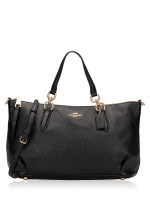 COACH 30565 Pebbled Leather Ally Satchel Black