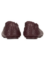 TORY BURCH Minnie Quilted Leather Flats Malbec Gold Sz 8