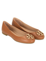 TORY BURCH Claire Tumbled Leather Flats Royal Tan Sz 6