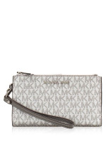 MICHAEL KORS Jet Set Monogram Double Zip Wristlet Silver