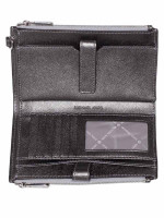 MICHAEL KORS Jet Set Monogram Double Zip Wristlet Silver