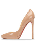 CHRISTIAN LOUBOUTIN Patent Leather Pigalle Pumps Nude Sz 37