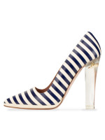 RED VALENTINO Leather Pumps Bianco Blue Stripes Sz 37