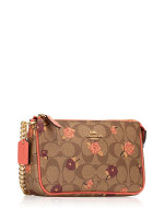 COACH 67532 Signature Tossed Peony Large Wristlet Khaki Pink Multi