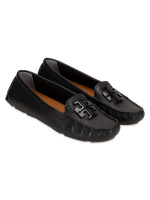 TORY BURCH Lowell 2 Tumbled Leather Loafers Black Sz 5