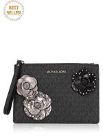 MICHAEL KORS Jet Set Signature Flower XL Zip Clutch Black