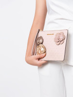 MICHAEL KORS Jet Set Signature Flower XL Zip Clutch Ballet