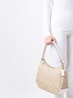 COACH 29209 Signature Zip Shoulder Bag Light Khaki Chalk
