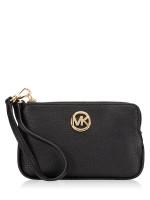 MICHAEL KORS Fulton Leather Medium Wristlet Black