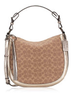 COACH 40616 Signature Sutton Shoulder Bag Tan Platinum