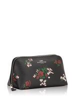 COACH 26226 Floral Cross Stitch Cosmetic Case Black Multi
