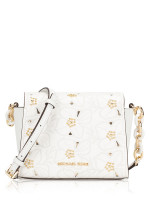 MICHAEL KORS Sofia Flower Embroidered Stud Small Crossbody Optic White