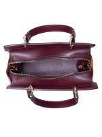 AIGNER Caro Leather Satchel Burgundy