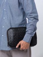 COACH Men 66555 Crossgrain Embossed Leather Multifunction Pouch Black