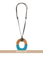 HERMES Isthme Lacquered Horn Necklace Bleu Atlantique