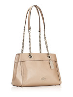 COACH 39019 Metallic Pebbled Leather Chain Brooke Platinum