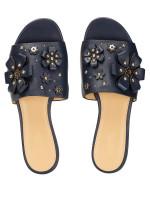 MICHAEL KORS Tara Floral Embellished Leather Slide Sandal Navy Sz 7
