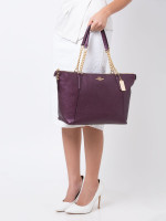 COACH 35868 Pebbled Leather Ava Chain Tote Raspberry