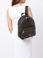 COACH 32200 Signature Charlie Medium Backpack Brown Black