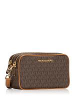 MICHAEL KORS Connie Monogram Small Camera Bag Brown Acorn
