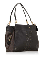 COACH 32977 Signature Leather Rivets Lexy Shoulder Bag Brown Black Multi