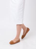 MICHAEL KORS Lillie Leather Flats Acorn Sz 7.5