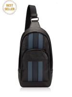 COACH Men 49318 Houston Varsity Sling Pack Black Denim Midnight Navy